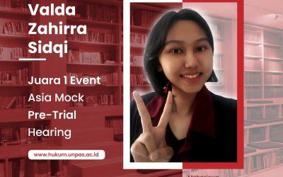 Valda, Mahasiswa FH Unpas Juara 1 Asia Mock Pre-Trial Event